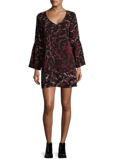 Saks Fifth Avenue BLACK Floral Flounce Sleeve Shift Dress
