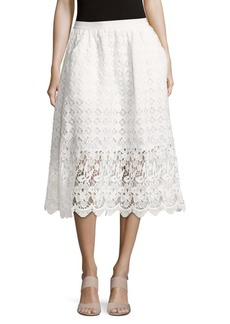 Saks Fifth Avenue BLACK Floral-Lace Cotton Skirt