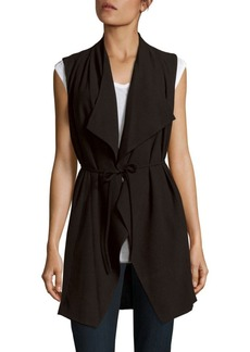 Saks Fifth Avenue BLACK Front Tie Drape Vest