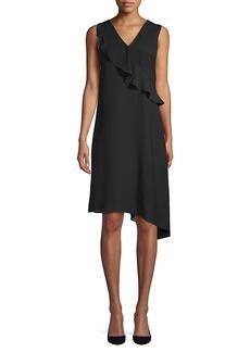 Saks Fifth Avenue Black Gauzy Asymmetric Dress