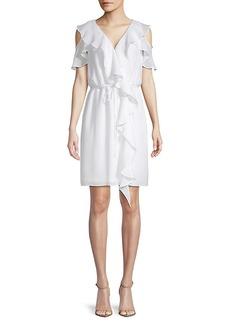 Saks Fifth Avenue Black Gauzy Crepe Cold-Shoulder Dress