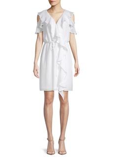 Gauzy Crepe Cold-Shoulder Dress