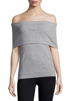 Saks Fifth Avenue Black Knitted Off-The-Shoulder Top