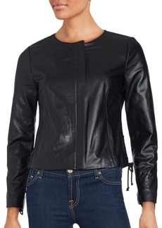 Saks Fifth Avenue BLACK Lace-Up Detailed Leather Jacket