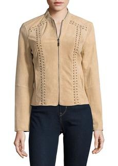 Saks Fifth Avenue BLACK Lace-Up Leather Jacket