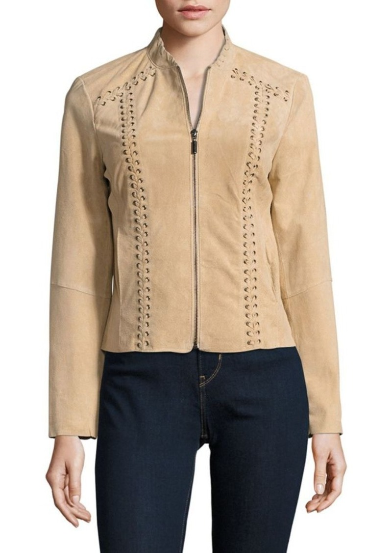 Saks Fifth Avenue BLACK Lace-Up Leather Jacket