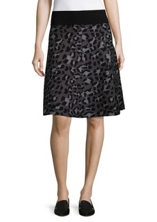 Saks Fifth Avenue BLACK Leopard Knit A-Line Skirt