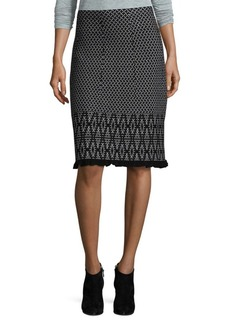 Saks Fifth Avenue BLACK Mixed Print Knit Skirt