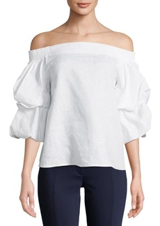 Saks Fifth Avenue BLACK Off-The-Shoulder Linen Blouse