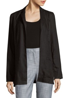 Saks Fifth Avenue BLACK Open Front Linen Jacket