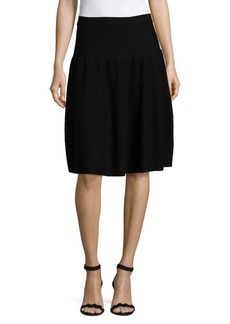 Saks Fifth Avenue BLACK Ottoman Ribbed Solid Skirt