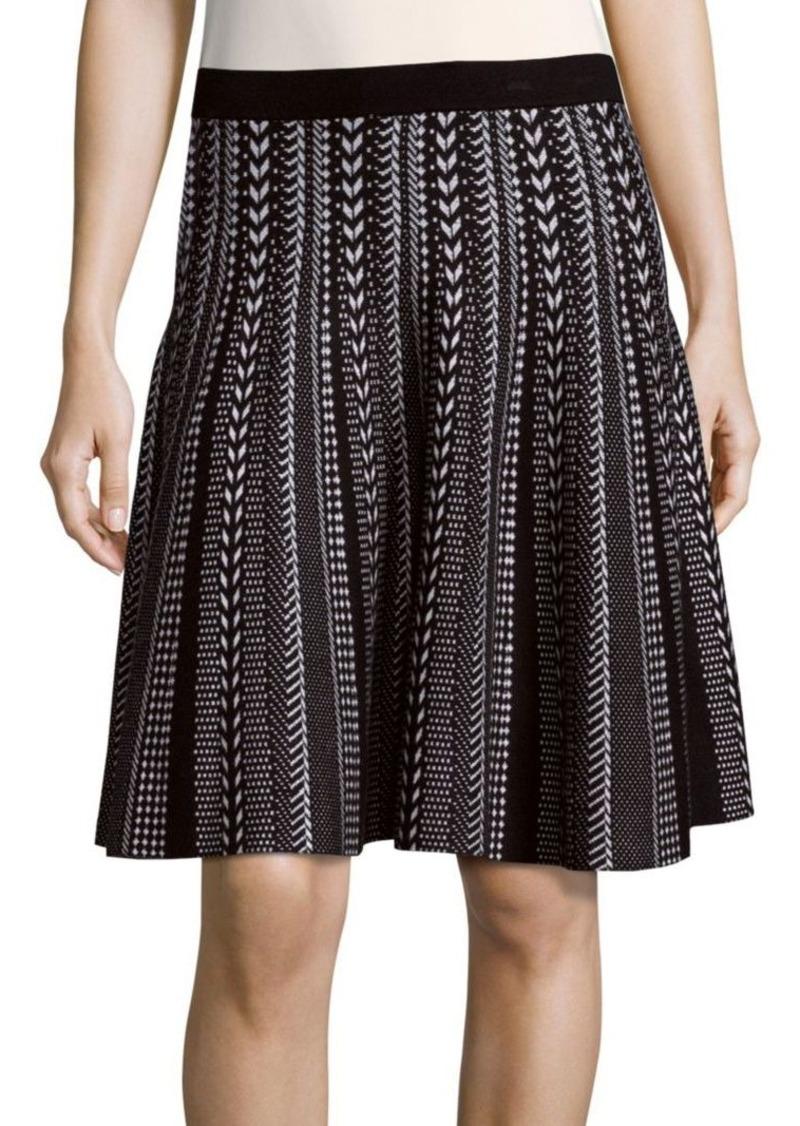 Saks Fifth Avenue BLACK Patterned Knit Skirt