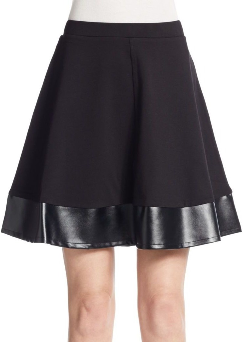 Saks Fifth Avenue BLACK Ponte & Faux Leather A-Line Skirt