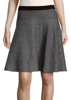 Saks Fifth Avenue BLACK Printed A-Line Skirt