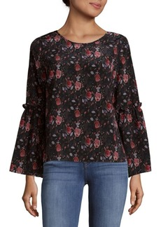 Saks Fifth Avenue BLACK Roundneck Bell Sleeve Top