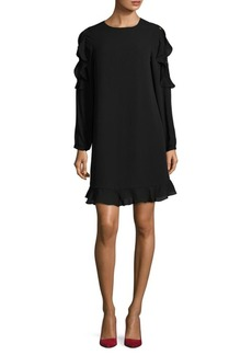 Saks Fifth Avenue BLACK Ruffle Long Sleeve Shift Dress