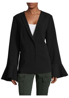 Saks Fifth Avenue BLACK Ruffle Sleeve Blazer