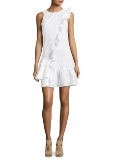 Saks Fifth Avenue Ruffle Sleeveless Linen Dress