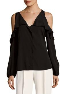 Saks Fifth Avenue BLACK Ruffled Cold Shoulder Top
