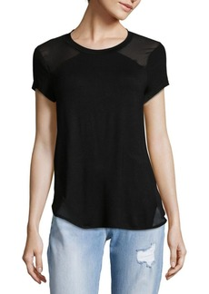 Saks Fifth Avenue BLACK Sheer Paneled Tee
