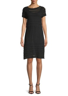 Saks Fifth Avenue Short Sleeve Knit A-Line Dress