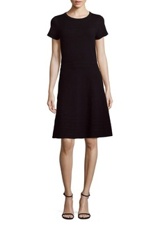 Saks Fifth Avenue BLACK Short-Sleeve Midi A-Line Dress