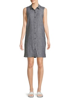 Saks Fifth Avenue Sleeveless Linen Shiftdress