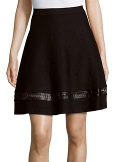 Saks Fifth Avenue BLACK Solid A-Line Skirt