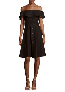 Saks Fifth Avenue BLACK Solid Button-Down Off-The-Shoulder Dress