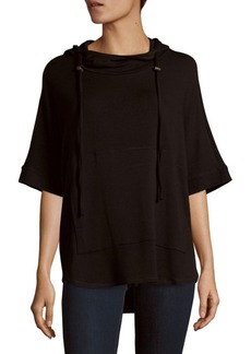 Saks Fifth Avenue BLACK Solid Hooded Pullover