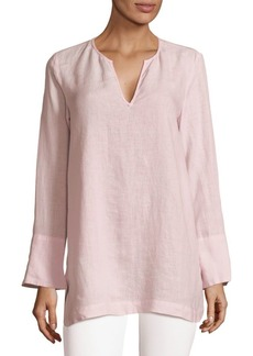 Saks Fifth Avenue Split Neck Linen Top