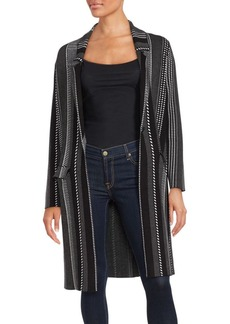 Saks Fifth Avenue BLACK Striped Long Sleeve Jacket