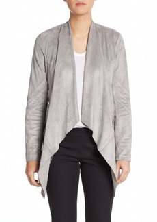 Saks Fifth Avenue BLACK Sueded Drape-Front Jacket