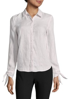 Saks Fifth Avenue Tie-Sleeve Linen Top