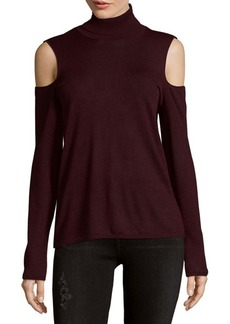 Saks Fifth Avenue BLACK Turtleneck Cold Shoulder Top