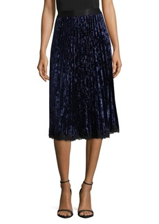 Saks Fifth Avenue BLACK Velvet Pleated Skirt