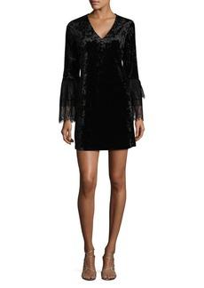 Saks Fifth Avenue BLACK Velvet V-Neck Dress