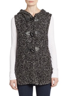 Saks Fifth Avenue BLUE Boucle Hooded Toggle Vest