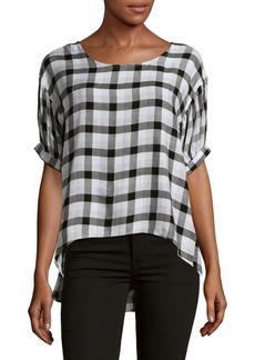 Saks Fifth Avenue BLUE Checkered Print Blouse