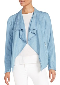 Saks Fifth Avenue BLUE Draped Chambray Jacket