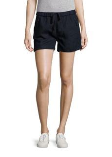 Saks Fifth Avenue BLUE Elasticized Drawstring Linen Shorts