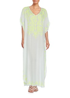 Saks Fifth Avenue BLUE Embroidered Maxi Dress