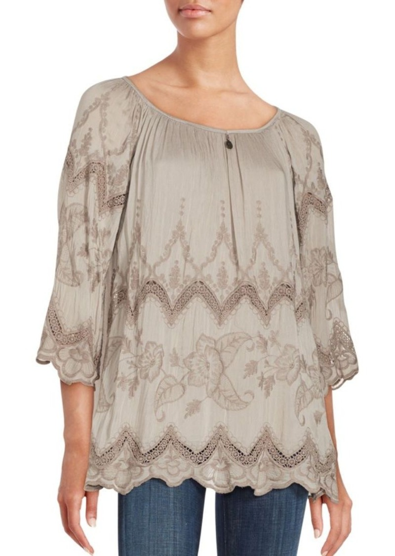 Saks Fifth Avenue BLUE Floral Embroidered Lace-Inset Top