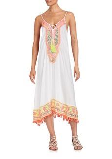 Saks Fifth Avenue BLUE Magnum Fringe Float Dress