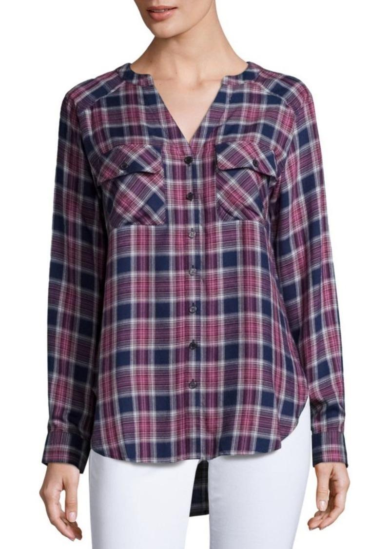 Saks Fifth Avenue BLUE Plaid Long Sleeve Shirt