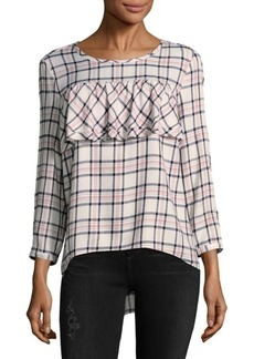 Saks Fifth Avenue BLUE Plaid Ruffle Front Top