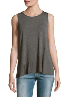 Saks Fifth Avenue BLUE Solid Crepe Tank Top
