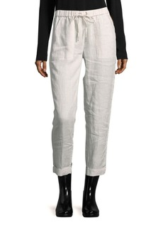 Saks Fifth Avenue BLUE Solid Linen Pants