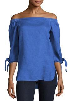 Saks Fifth Avenue BLUE Solid Off-The-Shoulder Top