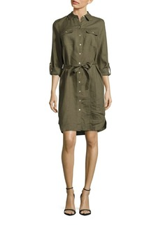 Saks Fifth Avenue BLUE Solid Spread-Collar Shirtdress